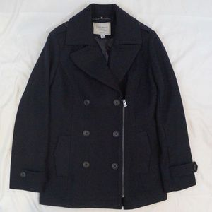 Lucky Brand Asymmetrical Zip Pea Coat Size XS Navy